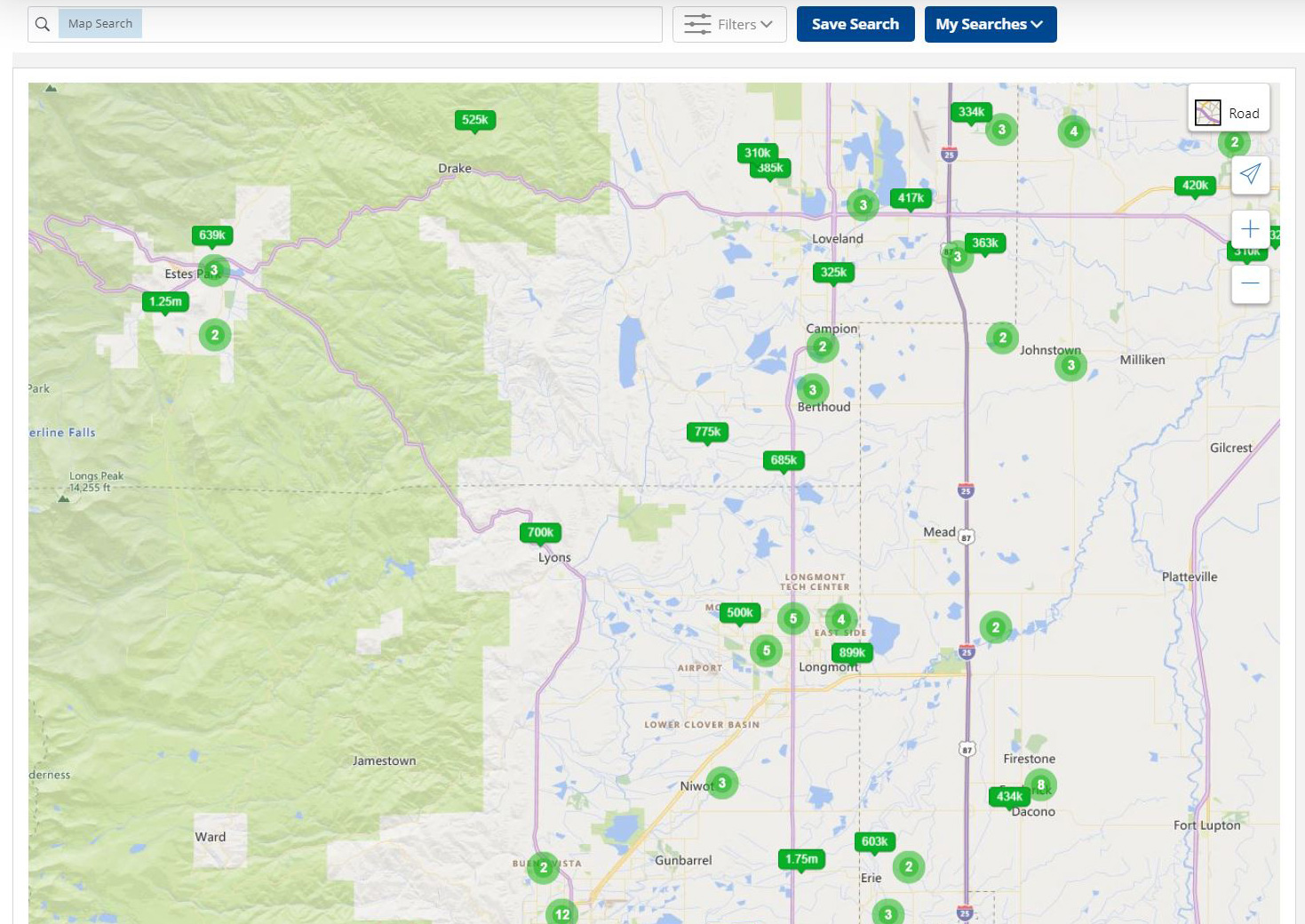 Search the live MLS map, request info and showings on live updated Northern Colorado Real Estate Map.
